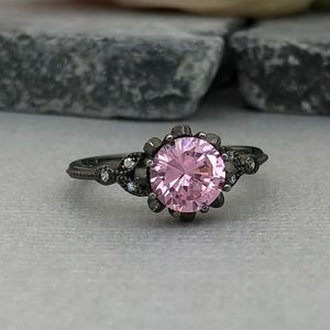 Jewelry - Round pink CZ sterling silver black Rhodium ring